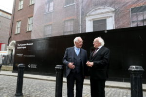Repro Free: Thursday 15th September 2016. President of Ireland Michael D. Higgins visited Dublin City Council's Tenement Museum Dublin Project, 14 Henrietta Street. Pictured is peter Brannigan former resident born in the basement of 14 Henrietta Street in 1939 with President of Ireland Michael D. Higgins. Picture Jason Clarke